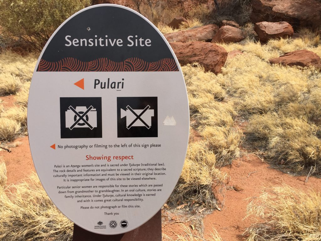 No photography at Uluru Sensitive Sites