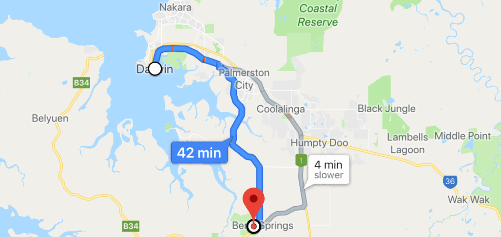 Berry Springs Distance - Day Trips From Darwin