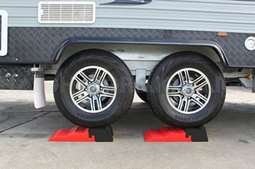 Caravan Levelling Devices - levelling ramps get your van level on uneven ground (side-to-side)