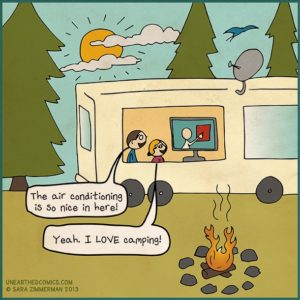Cartoon-About-Watching-TV-While-Camping