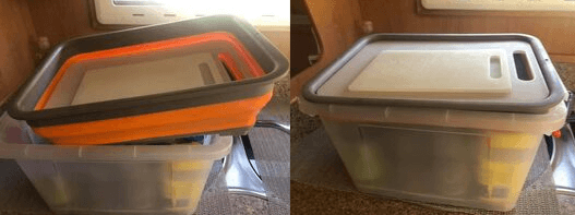 Clear plastic tub with collapsible tub as lid