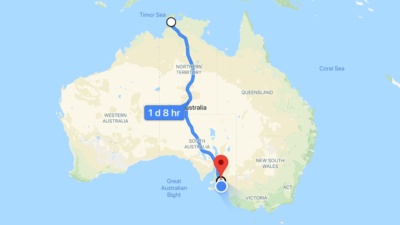 How far to travel australia - Darwin to Adelaide - 3,000 km by road