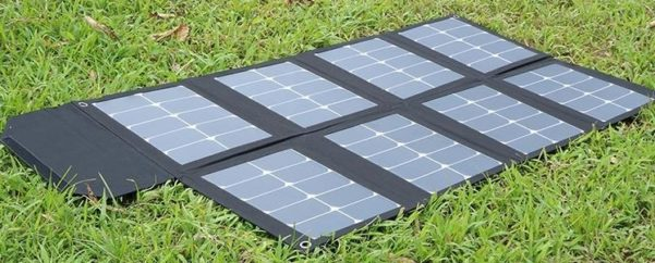 portable solar panels for caravans - solar blanket on ground