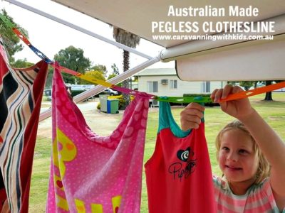 Dyring Clothes in a Caravan - Pegless-Clotheslines-Caravanning-with-Kids