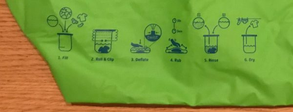 Scrubba Wash Bag Review - Printed Instructions