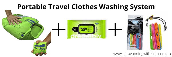Portable Clothes Washing System - Scrubba Wash Bag and Dreambly Laundry Sheets and Pegless Clothesline