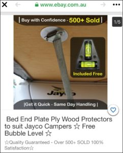 Bed End Plate Ply Wood Protectors to suit Jayco Camper Trailers with Free Bubble Level - from Jaycocamperbuild