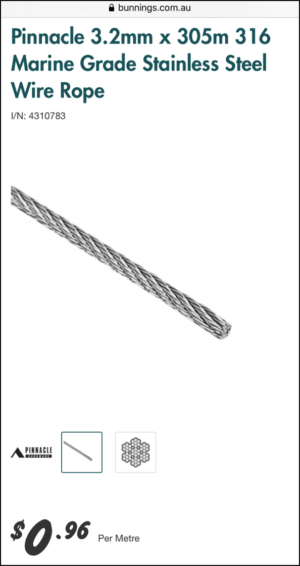Stainless Steel Wire Rope for Caravan Tunnel Boot Table