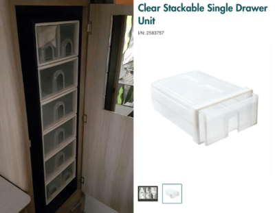 Clear Stackable Single Draw Unit - Fit To Make Shelves in Jayco Wardrobe