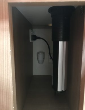 Pop Up Power Point Installation in Jayco Swan - Down Inside Cupboard
