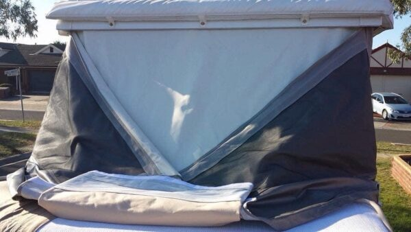 Jayco Camper tips - Fold the long edge of the canvas back into the middle