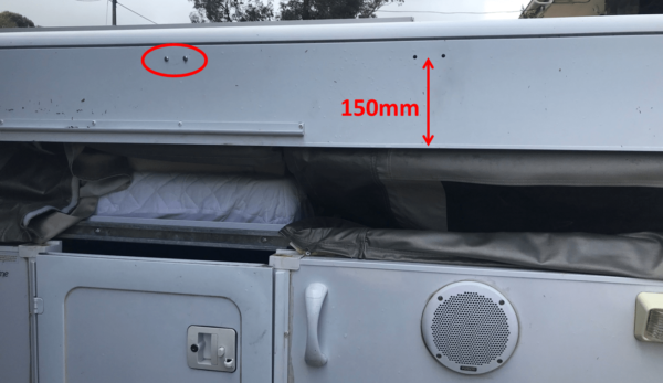 Holes Drilled On Jayco Swan for Fiamma Awning Mounting Bracket