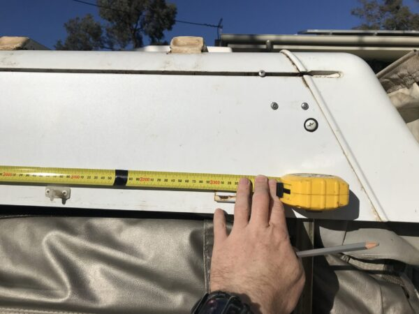 Marking On Room of Jayco Swan Location of Fiamma Awning Mounting Brackets