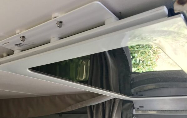 Turn Button Supports - Installed and Holding Up Door to Ceiling of Jayco Swan Camper Trailer