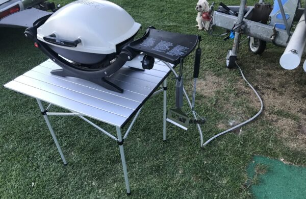 Aluminium Roll Up Folding Camping Table with Weber Baby Q BBQ and 3m Long Bayonet Hose