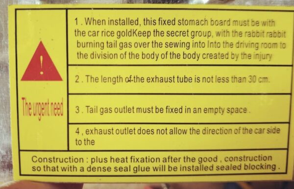 Gas vs. Diesel Heaters - Installation Instructions Are Terrible English
